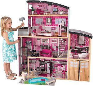 Mobilier Maison Manoir Bois Poupée Barbie Meuble Accessoires Cadeaux Noël Enfant