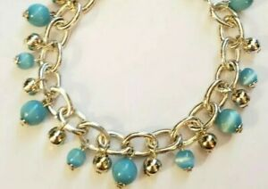 Handcrafted Blue Aqua Silver Tone Moonglow Glass Beaded Beads Dangle Bracelet
