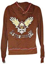 Yag Hoodie Sweatshirt Hooded Zippered Zipper Front Brown size Large Vintage