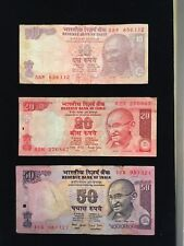 INDIA  Paper Money Lot  10, 20, 50 RUPEES