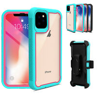For iPhone 11 Pro Max Armor Case Hybrid Heavy Duty Clear Cover with Belt Clip