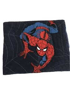 Pottery Barn Kids Spiderman Marvel Comics Navy Blue Twin Quilt