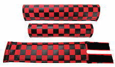 FLITE old school BMX bicycle padset foam racing pads CHECKERBOARD RED & BLACK