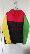 Burton DryRide Rasta Color Block Snowboarding Hooded Jacket Coat Parka Mens Sz L