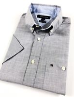 TOMMY HILFIGER Shirt Men's Short Sleeve End-On-End Grey Tonal Check Classic Fit