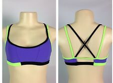 Lululemon Ignite Bra Size 4 Power Purple Black Ziggy Green NWOT Swim Fabric