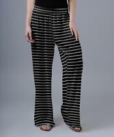 Lily Women's Stripe Wide Leg Palazzo Pants (Black, L/12-14)