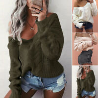Womens Ladies Off The Shoulder Knitted Oversized Baggy Sweater Jumper Top Blouse