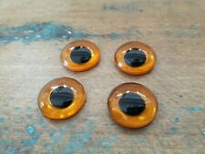 ♥Nr.4-Alte Glasaugen Tieraugen kristall mit Puppille handbemalt Öse 16 mm 4 St.♥