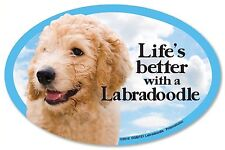 "Life's Better with a Labradoodle 6"" x 4"" Oval Dog Magnet for Cars and more"