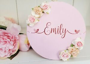 Floral roses 15cm personalised round name room wall plaque gift