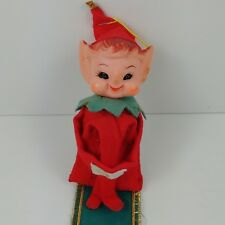 ib Vtg Elf Pixie Knee Hugger Christmas Ornament Wall Hanger w/ Jingle Bells #12