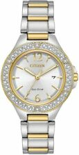 Ladies Citizen Eco-Drive Gold Silver Stainless Swarovski Date Watch FE1164-53A