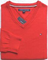 Tommy Hilfiger Men's Signature Solid V-Neck Sweater, Red