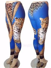 New Women's Sexy Animal Print Blue Gold Bling Leopard Tiger 3D Leggings Pants