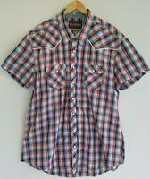Rock & Roll Cowboy Men's 2XL Cotton Plaid Snap Up Red White Blue Shirt