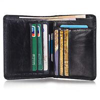 Men's Genuine Leather ID Card Slot Bifold Wallet Coin Purse Pocket Money Clip