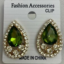 Rhinestone Crystal Pear Drop Clip On Earrings YOU CHOOSE COLOR