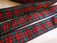 ancien galon tissé  vintage style écossais rouge vert 3 mètres sur 2,9 cm