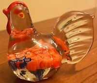 "Encased Millefiori Art Glass Figural Rooster Paperweight Clear 3"" x 3"" x 2"""