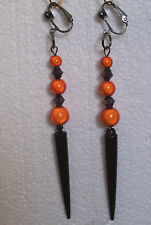 Black Spike Orange Miracle Bead CLIP-ON Earrings - Halloween, Party,