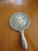 Vintage Art  Nouveau  Silver-plated Repousse Hand held Mirror  Flower Design