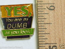 YES, You are as DUMB as you look! Sayings pin (say 254)
