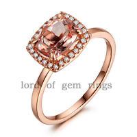 Cushion Cut 6x8mm VS Morganite Halo H/SI Diamonds 14K Rose Gold Engagement Ring