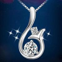 Silver Plated Crystal Pendant Mermaid Necklace Zircon