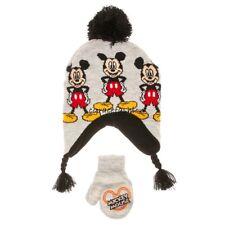 Disney Mickey Mouse Baby Boy Gray Pom Earflap Trapper Winter Hat Cap Mitten Set