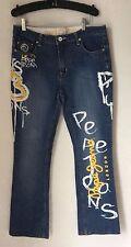 Pepe London Uk 73-Womens-Jeans-Size 33-Yellow White-Painted Graphic-Graffiti