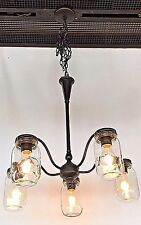 5 light clear mason jar lighting glass chandelier in oil rubbed bronze finish