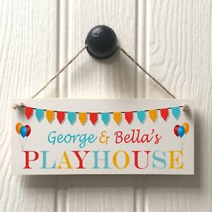 Personalised Kids Playhouse Door Sign - Childs Balloon & Bunting Playhouse Sign