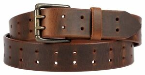 Brown Leather Belt with Lifetime Warranty. Double prong Made in the USA