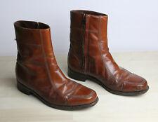 Vintage FLORSHEIM Shoe Mens Ankle Boots 8.5 3E Cognac Brown Leather Zip
