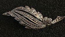 Sterling Silver & Marcasite Leaf Brooch - NEW RRP £60