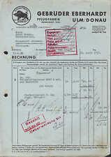 ULM, Rechnung 1937, Pflug-Fabrik Gebrüder Eberhardt