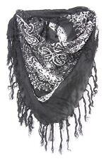 Paisley Print Black & White Everyday Wear Casual Wrap Scarf W Tassels s101