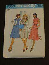 Uncut Vtg Simplicity 7350 Sewing Pattern Retro 1976 Dress Skirt Top Sz 12 Misses
