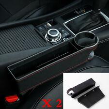 2Pcs Car Seat Crevice Gap Storage Box Cup Holder Organizer Full PU Leather Black