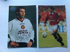 Official Manchester United 2 x Photos 6x4 Ryan Giggs Preprinted Autograph