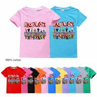 New Kids 100% Cotton ROBLOX T-Shirt Boys Girls Casual Short Sleeve Tee Tops