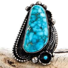 Vintage Navajo Natural LONE MOUNTAIN Turquoise Ring Sterling Silver 5 Old Pawn