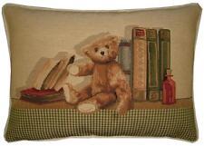 Teddy Bear Diary Bookshelf Oblong Woven Tapestry Cushion Pillow Cover