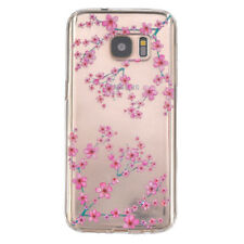 Samsung Galaxy Note 5 - TPU RUBBER CASE COVER CLEAR PINK PEACH BLOSSOM FLOWERS