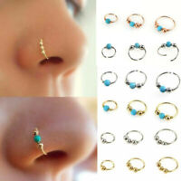 Helix Thin 0.8mm Ring Silver Nose Piercing Steel Cartilage Tragus Hoop UK Small