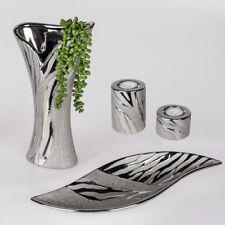 Formano Deko Vase, Schale oder Leuchter im 2er Set Wave silber aus Keramik NEU