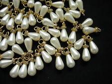 BA05 10x18mm Pearl Teardrop Beads Cream w/Gold Loop Diamante Jewelry/Craft 20pcs