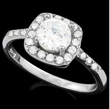 DIAMOND HALO  ENGAGEMENT RING BRIDAL SILVER WHITE GOLD   F- IF  1,56 CWT GENUINE