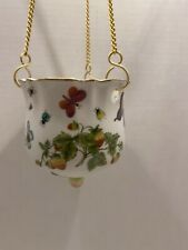 Vintage Hanging Porcelain Planter Strawberries And Butterflies